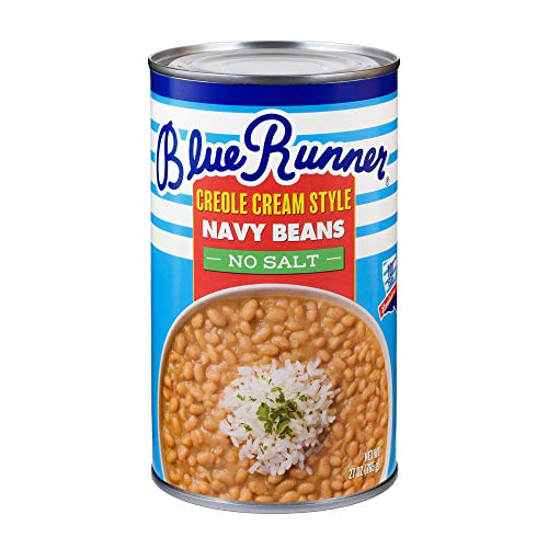 Blue Runner-Creole Cream Style Navy Beans-27 oz Can (Pack of 12)-No Salt Added-Slow Cooked and Authentic-A Great Start to Any Southern Dish