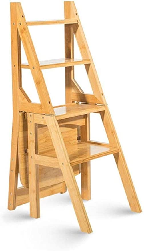 Escalera De Madera Silla Plegable De Madera Maciza De Moda Hogar Cocina Escaleras Plegables De Doble Uso Silla Móvil Escalera De 4 Escalones Taburete Ascendente: Amazon.es: Hogar