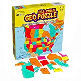 GeoToys - GeoPuzzle USA and Canada - Educational Kid Toys for Boys and Girls, 69 Piece Geography Jigsaw Puzzle, Jumbo Size Kids Puzzle - Ages 4 and up
