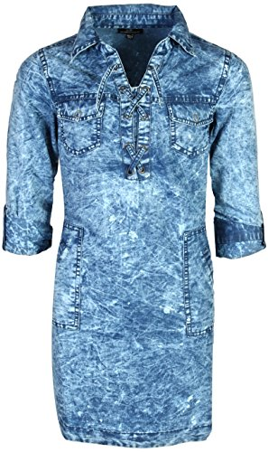 dollhouse Girls Chambray Denim Lace-up Dress, Light, Size (Jeans Doll Clothes)