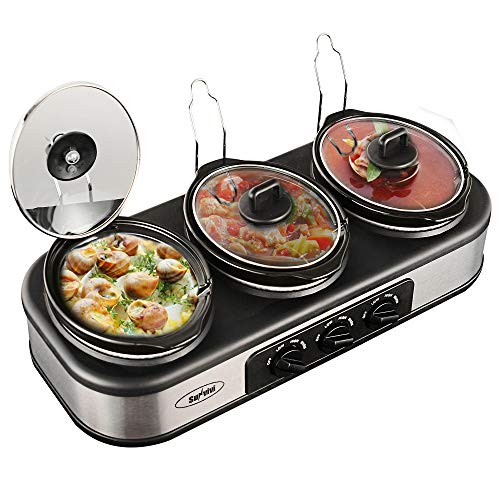 (Sunvivi Triple Slow Cooker, 3×1.5 QT Slow Cooker Buffet Server with Non-Skid Feet, 3 Pots Food Warmer Adjustable Temp Lid Rests Stainless Steel for Parties Holidays Families)