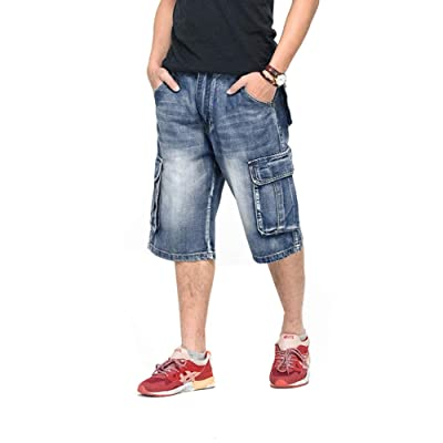 Ruiatoo Men's Outdoor Cargo Multi-Pocket Denim Jeans Work Cargo Pants at Amazon Men's Clothing store