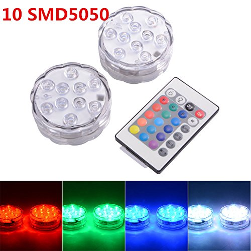 JINBEST 2PCS Remote Control Waterproof Lamp Submersible LED Lights for Fountain Pool Hot Tub Wedding Pond Decoration Centerpieces Vase Party by JINBEST