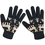 LETHMIK Christmas Thick Knit Gloves Winter Deer Knitted Warm Glove for Women&Girls Black,One Size (Superior Elasticity)