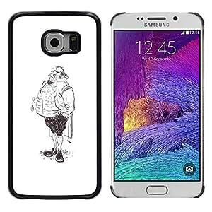 Paccase / SLIM PC / Aliminium Casa Carcasa Funda Case Cover - Aristocrat Legs Man Sketch Pencil Drawing Art - Samsung Galaxy S6 EDGE SM-G925