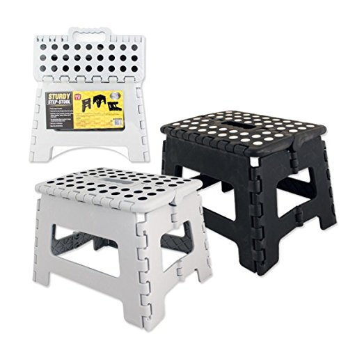 Large Folding Step Stool - 136kg Capacity Heavy duty assorted Black and...