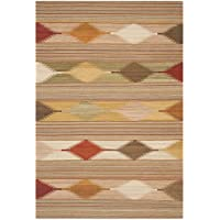 Safavieh Navajo Kilim Collection NVK175A Hand Woven Natural and Multi Wool Area Rug (5 x 8)