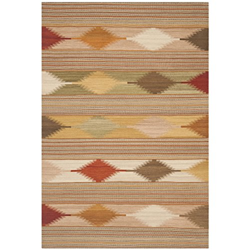 Safavieh Navajo Kilim Collection NVK175A Hand Woven Natural and Multi Wool Area Rug (6' x 9') by Safavieh