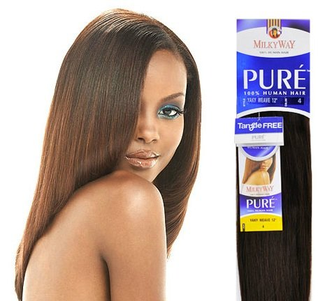 Amazon Com Milkyway Human Hair Weave Pure Yaki 14 Quot 4