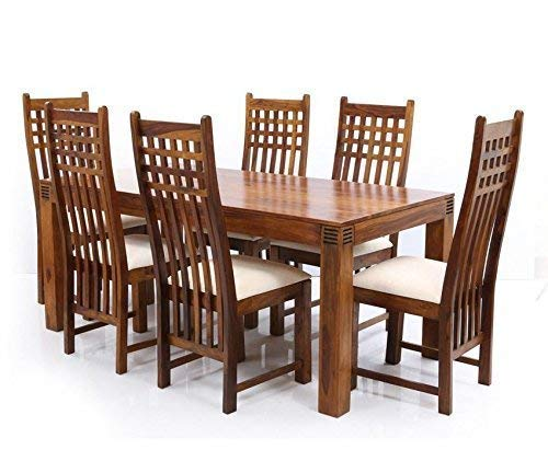 Rsfurniture Sheesham Wooden 6 Seater Dining Table Set With 6 Chairs Natural Brown Amazon In Home Kitchen
