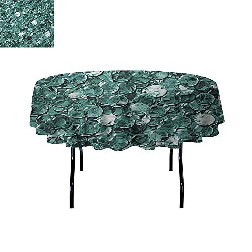 - DouglasHill Pearls Waterproof Anti-Wrinkle no Pollution Crystal Clear Balls Coins Pattern Never Ending Liquid Objects Monochrome Design Print Table Cloth D67 Inch Teal