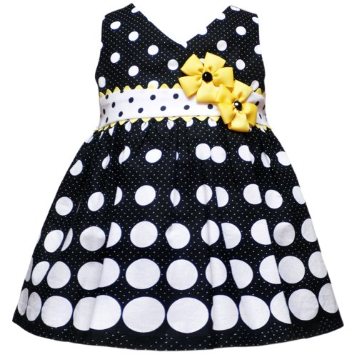 Rare Editions Baby/INFANT 12M-24M 2-Piece BLACK WHITE YELLOW GRADIENT DOT BORDER PRINT Special Occasion Girl Party Dress