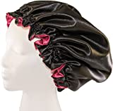 """(X-Large, BURGUNDY) New 24"""" Handmade Fully Reversible - High Quality Luxuries Pure Satin Hair Bonnet Safe For All Hair Types - Most Beneficial Hair care Product Available - Royal Bonnet offers"""