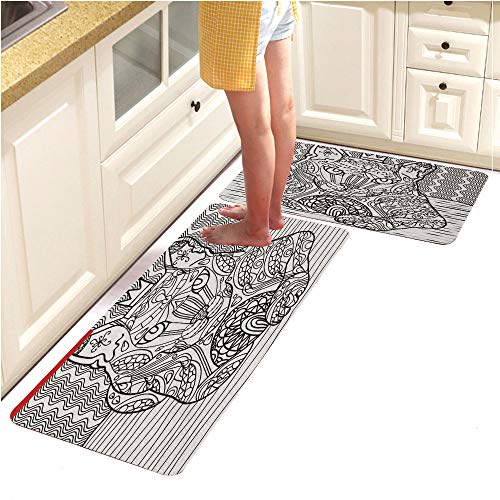 Pebbles Alphabet Page (Rugs Runner Rug -Non Skid Carpet Entry Rugs Runners for Kitchen and Entryway,Coloring cat Page for Adults 2 (15