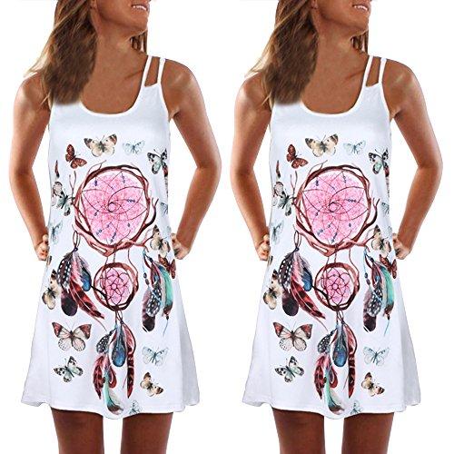 Allywit- Women Summer Vintage Sleeveless 3D Floral Print Bohemian Tank Short Mini Dress White