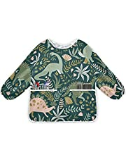 xigua Dinosaur Kids Art Smock Waterproof Kids Art Arpons with Long Sleeve and Pockets for Cooking Baking Painting,Small