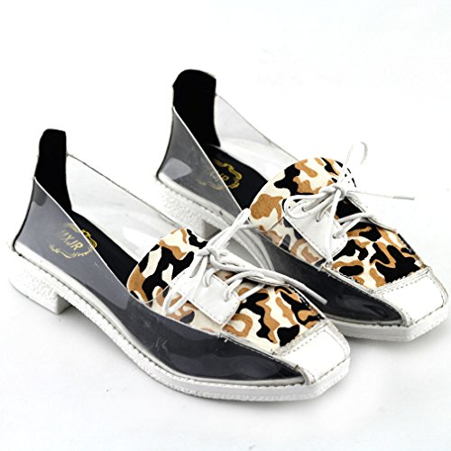 Show Story Fashion Cool White Leopard Print Clear Lace-up Square Toe Low Heels Casual Shoes,QT78F12WT38,7US,White