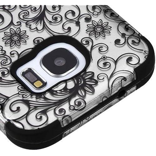 Samsung Galaxy S7 Case - Wydan TUFF Hybrid Hard Shockproof Case Protective Heavy Duty Impact Skin Cover - Spiral Flower - Silver w/ Wydan Stylus Pen Sales