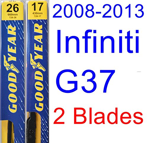 2008-2013 Infiniti G37 Coupe Replacement Wiper Blade Set/Kit (Set of 2 Blades) (Goodyear Wiper Blades-Premium) (2009,2010,2011,2012)