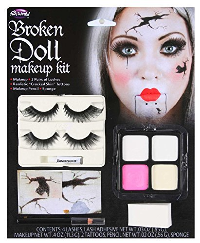 Doll Face Paint Costume (Ladies Broken Dead Doll Make Up Face Paint + Eyelashes Halloween Fancy Dress Costume Outfit Kit Set (One Size) by Fancy Me)