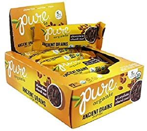 Pure Organic Chocolate Chunk, Ancient Grain and Nut Crispy Bar, Gluten-Free, Certified Organic, Non-GMO, Vegan,  Kosher, Plant Based Whole Food Nutrition Bar, 1.23 ounce (Pack of 12)