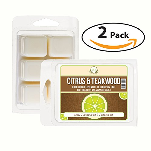 Wood Tart - AIRA Soy Wax Melt - Organic, Vegan, Kosher, Scented Soy Wax Cubes w/ Essential Oil Blends - No Chemical 100% Soy Wax Melts for Electric/Tealight Melters - Handmade Soy Tarts - Citrus Teakwood - 2 Pack