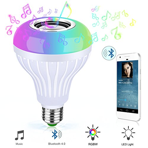 Bluetooth Light Bulb Speaker RGB Changing Lamp Dimmable LED Music Light Bulb E26 Base Bluetooth 4.0 with Remote...