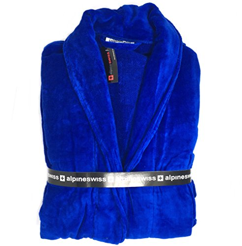 alpine swiss Aiden Mens Cotton Terry Cloth Bathrobe Shawl Collar Velour Spa Robe BLU ML Cotton Terry Velour Shawl