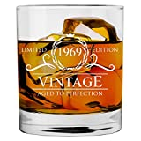 1969 50th Birthday Gifts for Women and Men Whiskey Glass   Funny Vintage 50 Year Old   Anniversary Gift Ideas Him Her Dad Mom Husband Wife   11 oz Whisky Bourbon Glasses   Party Supplies Decorations