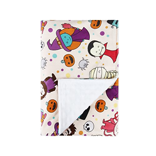 HT Minky Double Layer Toddler Blanket /Baby Blanket with Textured Dotted Backing - White 30x40 inches - Cute (Toddler Halloween Ideas)