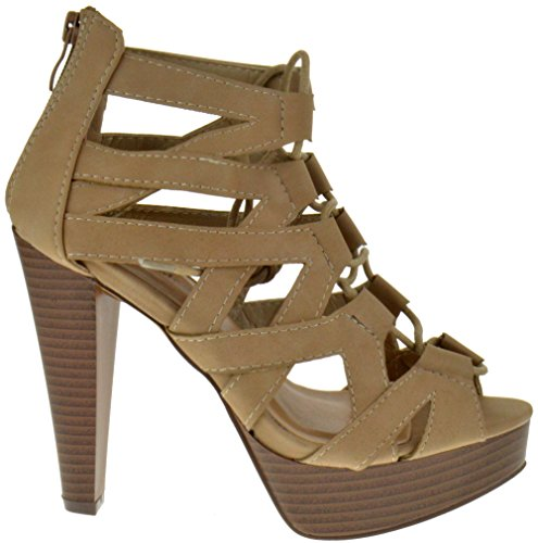 Table 8 Up Strappy Toe Lace Taupe Peep Pumps Heel High rrqxadF7w