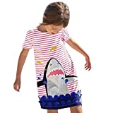 SHOBDW Girls Dresses, Baby Kids Cartoon Pattern Short Sleeve Striped Summer Dress Outfits Toddler School Beach Clothes Birthday Gifts (4-5 Years, Shark)
