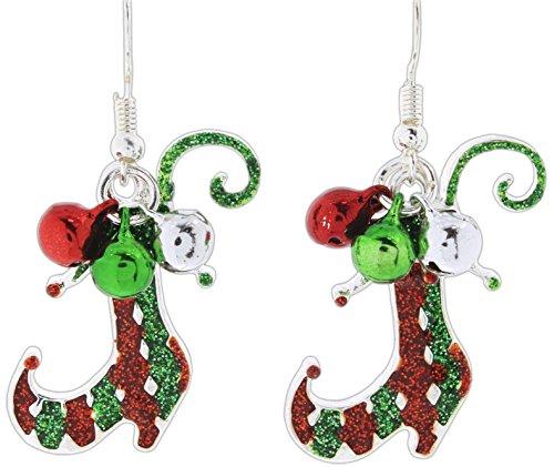 Periwinkle Festive Red & Green Glittered Enamel Elf Boots Dangle (Green Elf Boots)