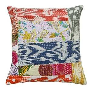 "Multicolor Patchwork Cojín Kantha Stitch hecho a mano étnico Funda de almohada Home Décor India 16 pulgadas de regalos """