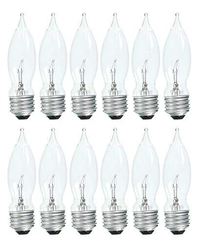 Set of 12 GE 75333 Crystal Clear 40 Watt Bent Tip Standard Base Light Bulbs! - Uses Clear Standard Base Bulb