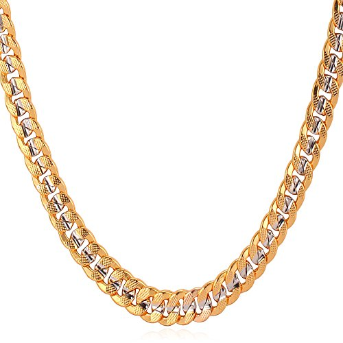 U7 Unisex Curb Cuban Chain 6MM Wide Two-Tone Platinum & 18K Gold Plated Necklace (24 Inch)