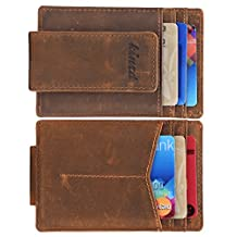 Money Clip, Front Pocket Wallet, Leather RFID Blocking Strong Magnet thin Wallet (One Size, Khaki (Y Style Crazy Horse Leather))