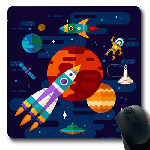 LifeCO Computer Mousepad Science Rocket Flat Space Spaceship UFO Technology Astronaut Child Pattern Planet Satellite Design Oblong Shape 7.9 x 9.5 Inches Oblong Gaming Non-Slip Rubber Mouse Pad Mat