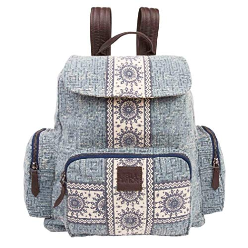 Girls Denim Blue White Medallion Floral Pattern Backpack, Beautiful Flowers Stripe-Inspired Theme Rucksack, Features Laptop Compartment, Secure Pockets, Adjustable Shoulder Straps, Cotton, Leather