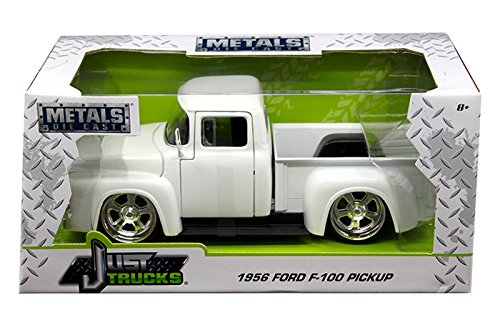 NEW 1:24 W/B JADA TOYS JUST TRUCKS COLLECTION - White 1956 Ford F-100 Pickup Diecast Model Car By Jada Toys