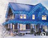 Set Of 200 Blue Christmas Icicle Lights By GE - White Wire