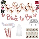 Share your Feelings Bachelorette Party Decorations Kit: Bridal Shower Decoration Set with 'Bride To Be' Satin Sash, Banner, Crown, Veil, Balloons, Photo Props & More Idea for Bridal Shower by