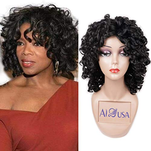 Short Loose Curly Wigs Heat Resistant Fiber FluffyWeave Curl Afro Synthetic Hair Wig Natural DailyHalf Wigs for Black Women and White Women Breathable Rose Net Wigs