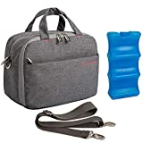 Lekebaby Breast Milk Cooler Bag with Contoured Ice Pack Fits 6 Breastmilk Ba