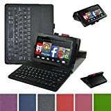 Fire 7 2015 Wireless Keyboard Case,Mama Mouth Coustom Design Slim Stand PU Leather Case Cover with Romovable Wireless Keyboard for 7' Amazon Fire 7 Tablet 5th Generation 2015 Release,Black