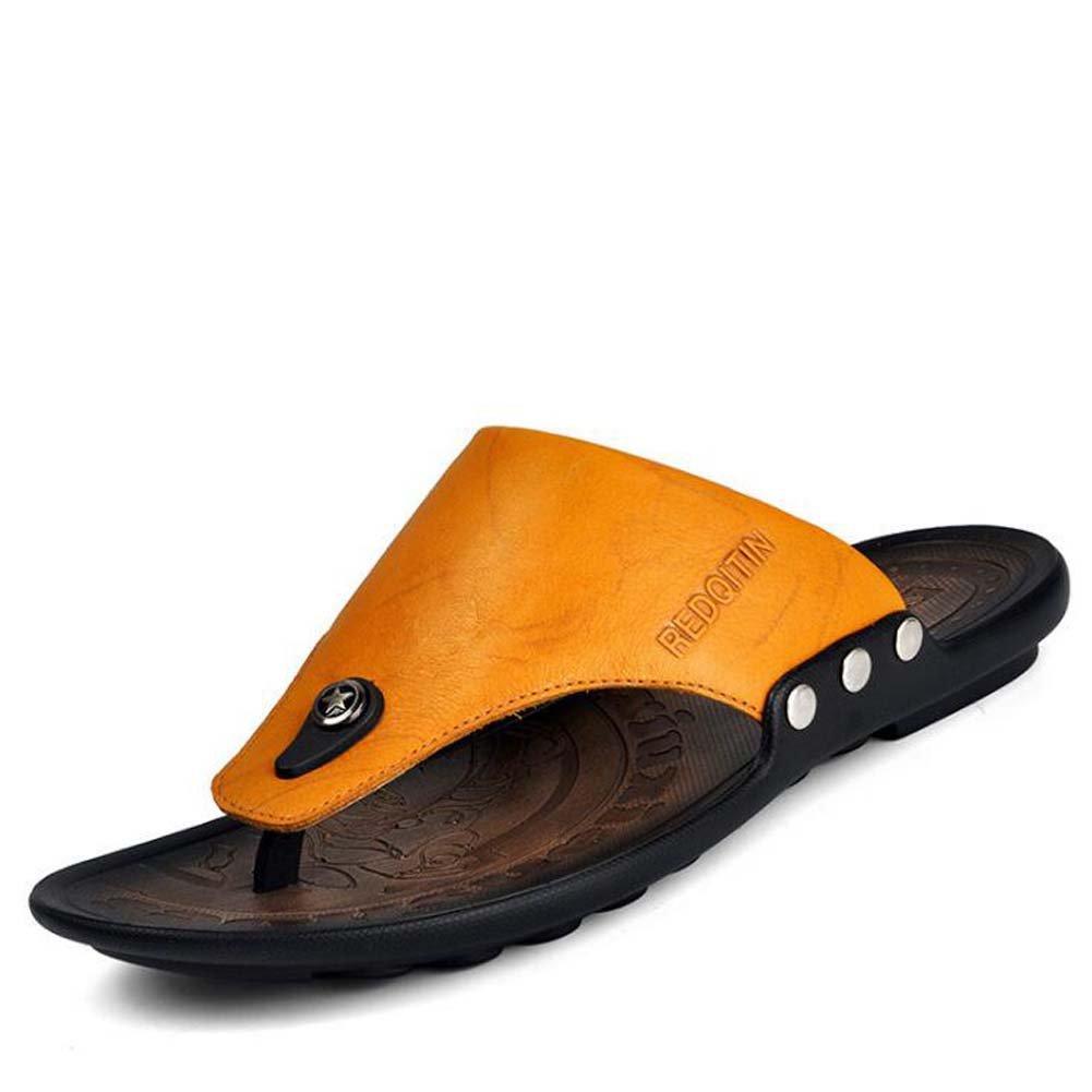 Männer Flip-Flops Koreanische Strand Sandalen Braun/Gelb Casual Toe Hausschuhe Atmungsaktiv Braun/Gelb Sandalen Größe 38-43 Gelb 05ea7c