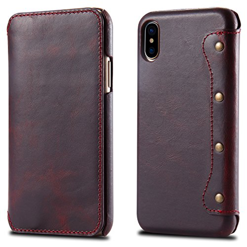 iPhone X Case, Reginn Waxed Leather Wallet Case with [Card Slot] [Cash Pocket] and [Stand Function] [Wireless Charging Compatible] Folio Cover for 5.8 Inch Apple iPhone X (Wine Red) by Reginn (Image #6)