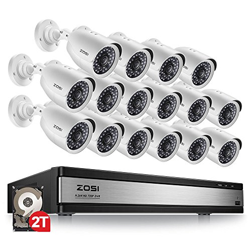 ZOSI 720p 16 Channel Security Camera System,16 Channel Hybrid