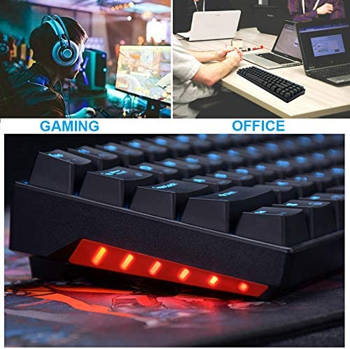 RK71 Mechanical Keyboard 71 Keys 70% LED Backlit Compact Gaming Keyboard,Tenkeyless Wired/Wireless Bluetooth Portable Gaming/Office with Stand-Alone Arrow Keys for Mac Windows (Brown Switch-Black) 51lSN8S9LyL