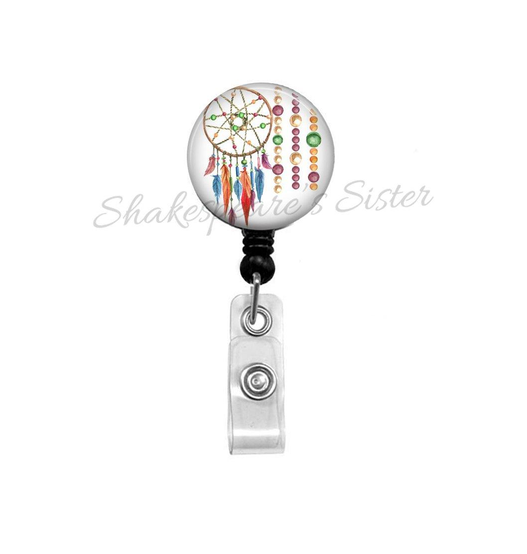 Colorful Dreamcatcher Badge Reel - Retractable ID Holder - Boho Dream Catcher - Teacher, Office, Nurse Badge Reel